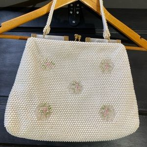Vintage White/Floral Beaded Purse